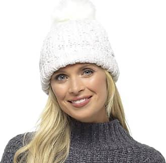 Foxbury Ladies Chenille Hat with Faux Fur Bobble Winter White