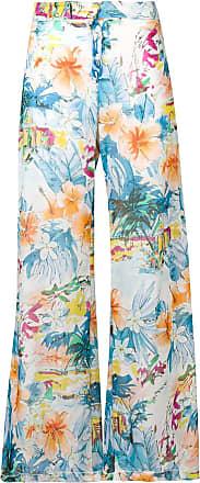 Blumarine Calça flare com estampa floral - Azul