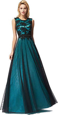 Ever-pretty Womens Elegant A Line Floor Length Empire Waist Long Tulle with Appliques Formal Evening Dresses Dark Green 24UK