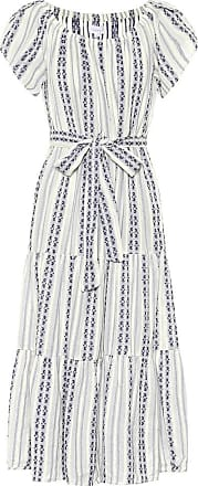 Velvet Tian striped cotton midi dress