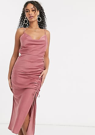 In The Style satin cowl neck midi dress in pink