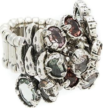 Camila Klein Anel botões com pedrarias - Prateado