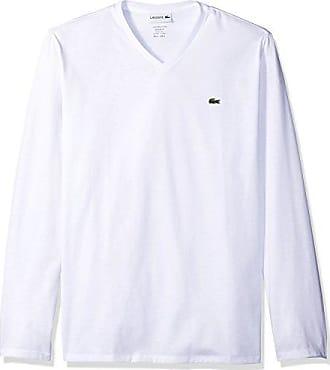 d6c14585 Lacoste Mens Long Sleeve Jersey Pima Reg Fit V Neck T-Shirt, White,