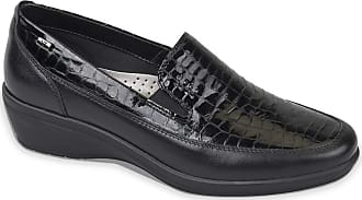 Valleverde 16145 Womens Real Leather and Painted Black Printed Coconut Moccasins Comfort Black Size: 4 UK