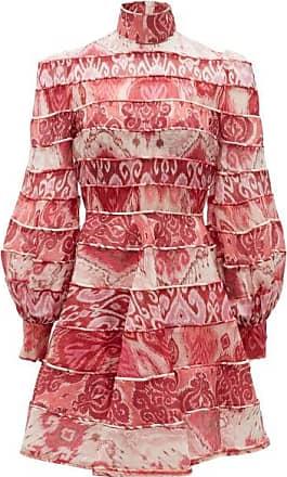 Zimmermann Wavelength Tiered Linen-blend Mini Dress - Womens - Pink Multi