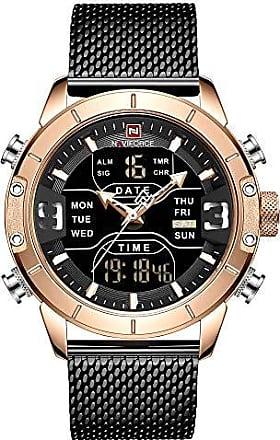 NAVIFORCE Relógio Masculino Naviforce NF9153 RGB Pulseira em Aço Inoxidável - Preto e Dourado Rose