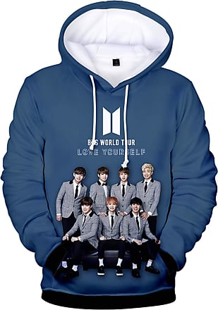 OLIPHEE Kpop 3D Printed Hoodies Women Fashion Jumper BTS Icon Bangtan Boys Fans Hip Hop Rap-Monster Suga Jin Jimin Jung Kook Blue S