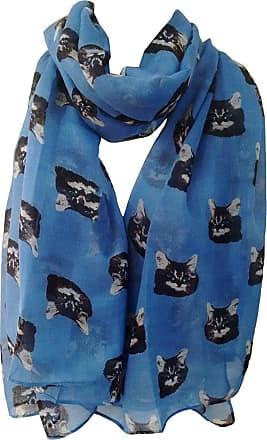 GlamLondon Cat Print Scarf Large Size Kitty Tabby Cats Animal Printed Women Wrap (Blue)