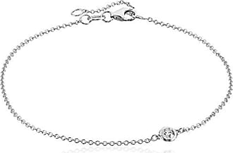 Amazon Collection 14k White Gold Solitaire Bezel Set Diamond with Lobster Clasp Strand Bracelet (1/10cttw, J-K Color, I2-I3 Clarity)