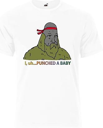 Gildan Donny Sasquatch The Big Lez Show I punched a Baby Mens Tee Shirt Top - White - 22 inches - X-Large