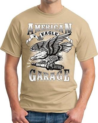 OM3 American-Garage - T-Shirt Eagle Sparks HOD Rod Route 66 US Amercian Cars Oldtimer Geek, XL, Khaki