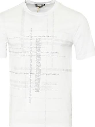 Canali Crew Text Print T Shirt Weiß - EU 54 / XXL UK