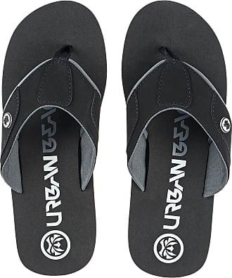 Urban Beach Mens HARRAHS Black Textile Toe Post FLIP Flops Beach Sandals -UK 8 (EU 42)