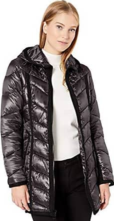 GUESS Womens Knee Length Heavy Quilted Puffer Coat with Hood