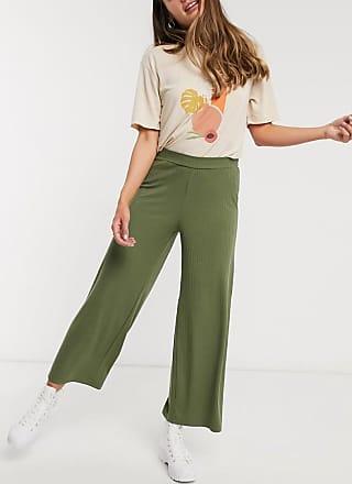 Pieces Kym - Cropped-Hose mit mittelhohem Bund und weitem Beinschnitt-Grün