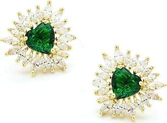 Royalz Brinco Royalz Semi Joia Dourado Cristal Bruna Verde