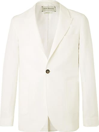 6997a7dcf4e10 Oliver Spencer Ivory Brookes Unstructured Slim-fit Herringbone Cotton And  Linen-blend Blazer -