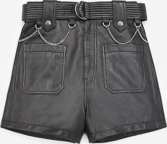 The Kooples Black leather shorts with topstitched belt - WOMEN