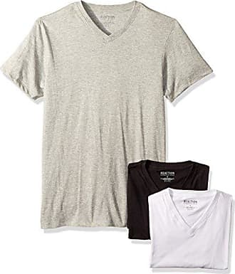 56913207 Kenneth Cole Reaction Mens 3 Pack Classic Fit V Neck Tee, White, Light Grey