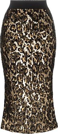 37831afd5 Dolce & Gabbana leopard print sequin embellished midi skirt - Metallic