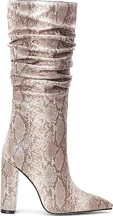 Vimisaoi Womens Snakeskin Pointed Toe Side Zipper Block High Heels Slouchy Knee High Boots