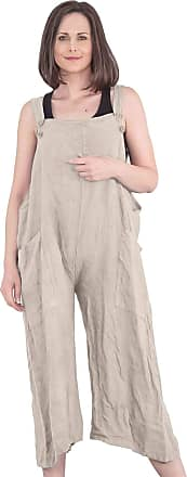 Love my Fashions Womens Button Detail Jumpsuit Ladies Plain Linen Casual Sleeveless Loose Fit Two Front Pockets Dungaree Trouser Summer Plus Size Beige