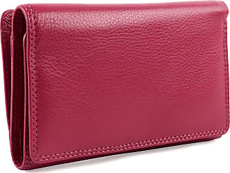 Visconti Ladies Leather Medium Flap Over Purse/Wallet Heritage Gift Boxed (Fuchsia)