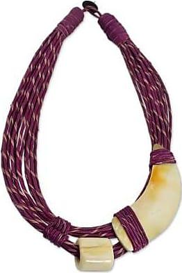 Novica Leather and horn torsade necklace, Sougri Violet