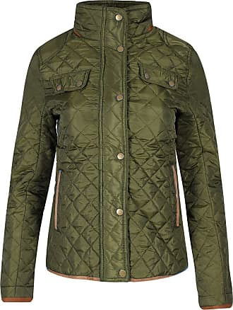 Be Jealous Womens Ladies Quilted Elbow Patches Funnel Neck Button Thick Warm Winter Jacket Olive