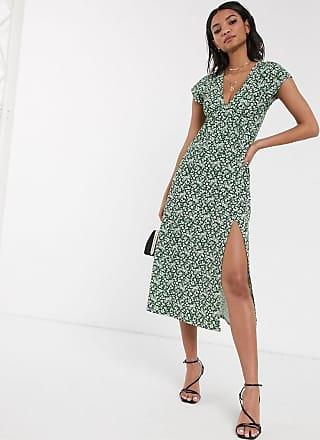 Topshop midi dress in green floral print