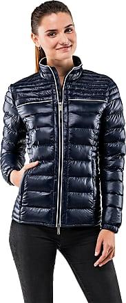 Vincenzo Boretti Womens Jacket Slim-fit Fitted Quilted Soft Long-Sleeve Lightweight Warm Smart Elegant Ladies Women Designer Padded Jacket Dark Blue L