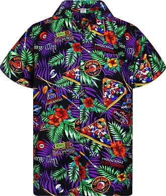 V.H.O. Funky Hawaiian Shirt, Pool Billiards, Black, XXL