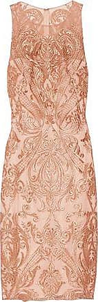Marchesa Marchesa Notte Woman Metallic Embroidered Tulle Dress Copper Size 0