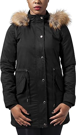 Urban Classics Womens Ladies Sherpa Lined Peached Parka Jacket, Black (Black 7), S