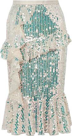 4b5561cda Needle & Thread Scarlett Ruffled Sequined Tulle Midi Skirt - Gold