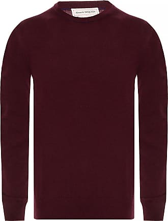 Alexander McQueen Cashmere Sweater With Logo Mens Burgundy
