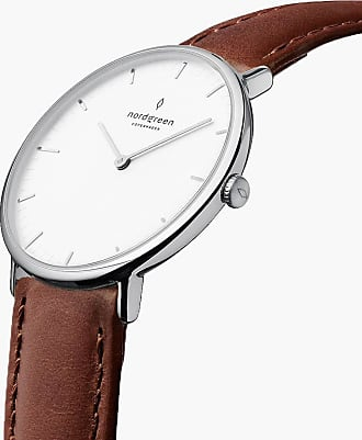 Nordgreen Native | White Dial - Brown Leather - Refurbished - 36mm / Silver