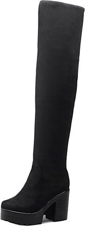 RAZAMAZA Women Simple Block High Heel Over Knee Boots Pull On Black Size 40 Asian