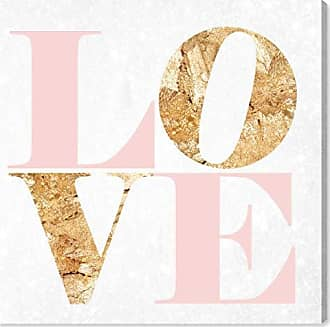 The Oliver Gal Artist Co. The Oliver Gal Artist Co. Oliver Gal Build On Love Romance Gold Typography Wall Art Print Premium Canvas 43 x 43 Pink