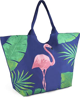 Lora Dora Womens Tropical Summer Beach Bag Flamingo + Leaves Navy