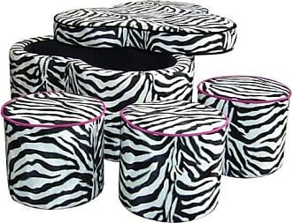 ORE 17.5 Zebra Storage Ottoman with 3 Seating