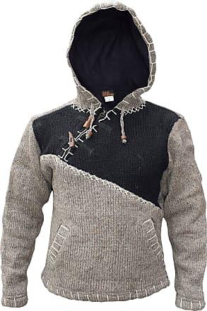 Gheri Cross Zip Natural Woolen Winter Festival Knitted Jumper Jacket Hoodie Black Light Brown Mix X-Large