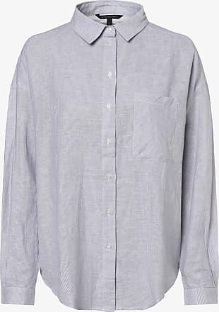 A|X Armani Exchange Damen Bluse mit Leinen-Anteil blau