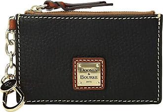 Dooney & Bourke Pebble Zip Top Card Case (Black/Tan Trim) Credit card Wallet