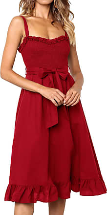 Yidarton Women Summer V Neck Sleeveless Mini Dresses Strap Boho Floral Backless Beach Holiday Party Sundress (XL, 3280-Red)