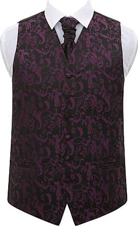 DQT Diamond Patterned Cadbury Purple Mens Wedding Waistcoat Cravat Set