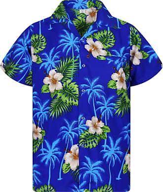 V.H.O. Funky Hawaiian Shirt, Small Flower, Darkblue, 5XL