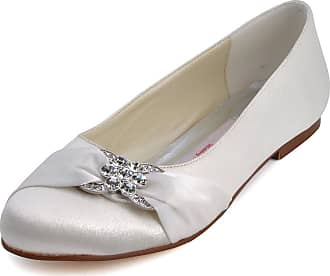 Elegantpark EP2006 Women Wedding Shoes Flat Round Toe Bridal Shoes Rhinestones Satin Wedding Flats Bride Shoes Ivory UK 2