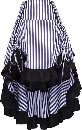 Belle Poque Women Gothic Long Skirt Steampunk Victorian High Low Skirt 1950s Vintage Corset Skirt BP345-7 L