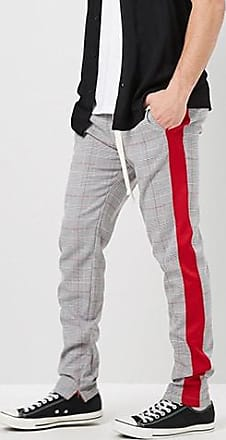 21 Men Glen Plaid Striped-Trim Ankle-Zip Pants at Forever 21 Grey/red